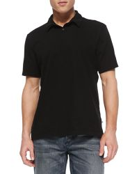 James Perse Sueded Jersey Polo Shirt - Lyst