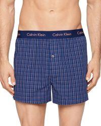 Calvin Klein Woven Check Slim Fit Boxers blue - Lyst