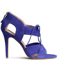 H&M Blue Leather Sandals - Lyst