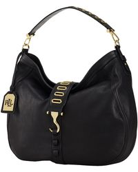 Lauren by Ralph Lauren Tumbled-Leather Hobo Bag - Lyst