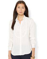 Lauren by Ralph Lauren Long-sleeve Floral-lace Shirt - Lyst