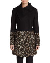 Saks Fifth Avenue Black Label Colorblock Animal-print Coat - Lyst