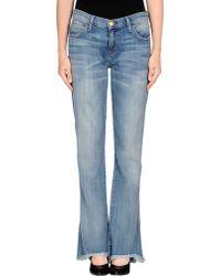 Current/Elliott Blue Denim Pants - Lyst
