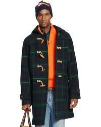 Ralph Lauren Tartan Hooded Wool Toggle Coat - Lyst