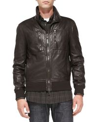 John Varvatos Leather Aviator Jacket - Lyst
