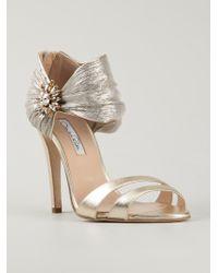 Oscar de la Renta Evening Sandal With Ornament - Lyst