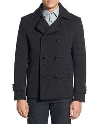Slate & Stone - 'cameron' Double Breasted Knit Wool Peacoat - Lyst