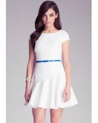 Bebe Jacquard Flounce Dress - Lyst