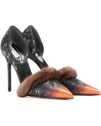 Balenciaga | Fur-Trimmed Leather Pumps | Lyst