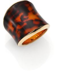 Michael Kors Tortoise-Print Shield Ring gold - Lyst