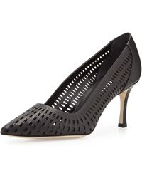 Manolo Blahnik Pusna Laser-Cut Bulgaro Leather Pump - Lyst