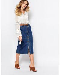 First & I - Denim Midi Skirt - Blue - Lyst
