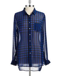 Two By Vince Camuto Houndstooth Sheer Blouse - Lyst