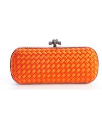 Bottega Veneta Orange Intrecciato Satin Knot Clutch - Lyst