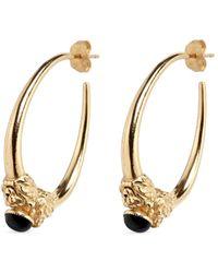 Ela Stone - 'arie' Lion Head Onyx Brass Hoop Earrings - Lyst