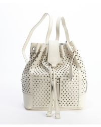 Olivia Harris Eggshell Perforated Leather Backpack - Lyst