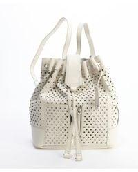 Olivia Harris Eggshell Perforated Leather Backpack white - Lyst