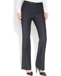 Calvin Klein Belted Pinstriped Trousers - Lyst