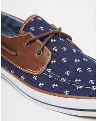 ASOS - Boat Shoes With Anchor Print - Lyst