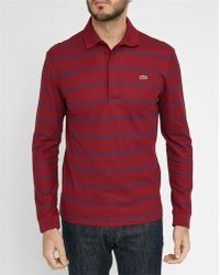 Lacoste   Burgundy Pr Short-sleeve Polo Shirt With Blue Stripes   Lyst