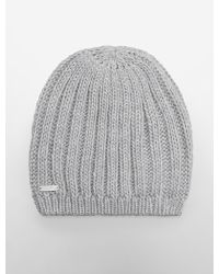 Calvin Klein Chunky Solid Ribbed Knit Beanie - Lyst
