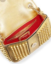 Christian Louboutin Sweet Charity Small Spiked Crossbody Bag Gold - Lyst
