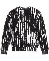 McQ by Alexander McQueen Worn Stripe-Print Sweatshirt black - Lyst
