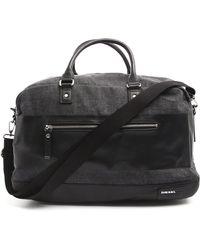 Diesel Blockin Black Denim Weekend Bag black - Lyst