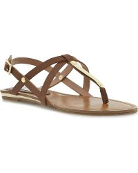 Steve Madden Henna Metaldetail Fauxleather Sandals Tansynthetic - Lyst