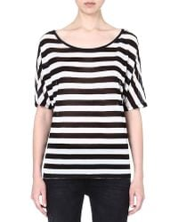 Enza Costa Striped Jersey Tshirt Blackwhite - Lyst