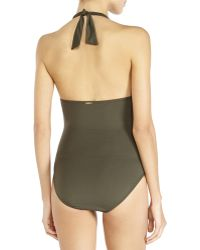 Ivanka Trump - Halter Shirred One-Piece Swimsuit - Lyst