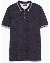 Zara Short Sleeve Polo Shirt blue - Lyst