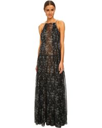 Vera Wang Printed Gauze Robe Gown W/ Pleated And Ruched Tiers - Lyst