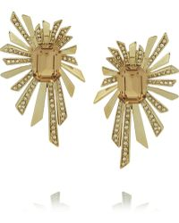 Roberto Cavalli Goldplated Swarovski Crystal Clip Earrings - Lyst
