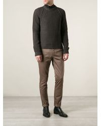 Lanvin Brown Ribbed Sweater - Lyst