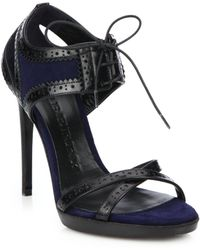 Burberry | Gauld Leather & Suede Lace-up Sandals | Lyst