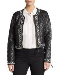 Saks Fifth Avenue Black Label - Beaded Quilted Faux Leather Cropped Jacket - Lyst
