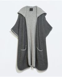 Zara Hooded Cape with Piping - Lyst