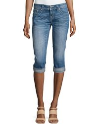 Miss Me Floral-Pocket Capri Jeans - Lyst