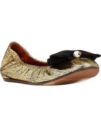 Lanvin Pearl & Bow Embellished Ballet Flats - Lyst