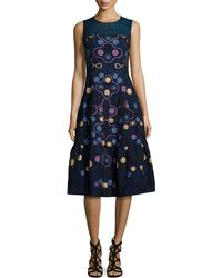 Peter Pilotto | Sleeveless Embroidered Fil Coupe Dress | Lyst