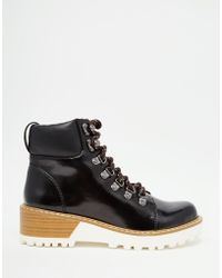 Monki - Patent Hiker Boots - Lyst