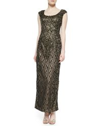 Sue Wong Cap-sleeve Beaded Metallic Lace Gown - Lyst
