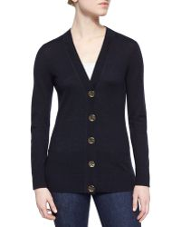 Tory Burch Simone Button-Front Wool Cardigan black - Lyst