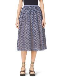 Michael Kors Gingham Lattice-Embroidered Cotton-Poplin Skirt - Lyst