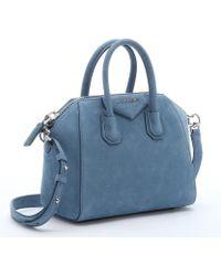 Givenchy Blue Suede Mini 'Antigona' Convertible Satchel - Lyst