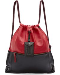 Diesel Red And Black Leather Twice Backpack red - Lyst