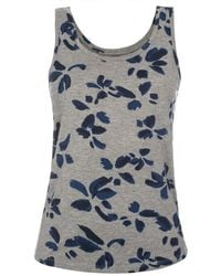 Paul Smith Grey Jersey Vest Top With Blue Floral Print - Lyst