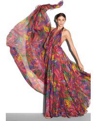 Milly Feather Print Georgina Gown - Lyst