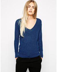 American Vintage V Neck Long Sleeve Tshirt - Lyst